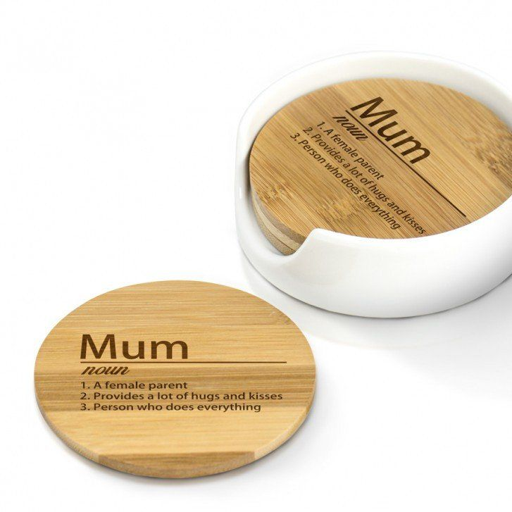 Mum Definition Personalised Wooden Coaster Set. http://harringtons-gift-store.co.uk/collections/mothers-day-gifts/products/mum-definition-personalised-wooden-coaster-set