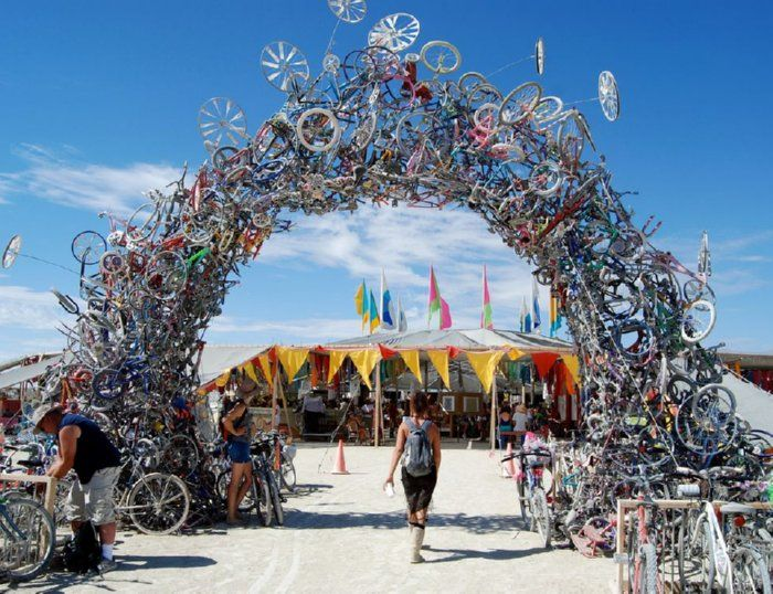 Burning Man Festival 2007 by Mark Grieve and Ilana Spector  Bikes reclaimed from garbage dumps and recycling centers form a 30 foot high archway.