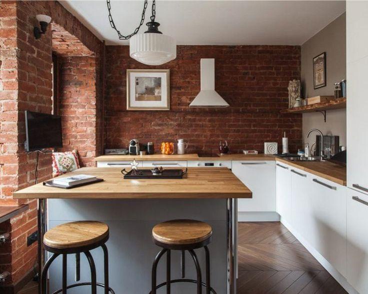 Зонирование кухни в стиле лофт с островом
