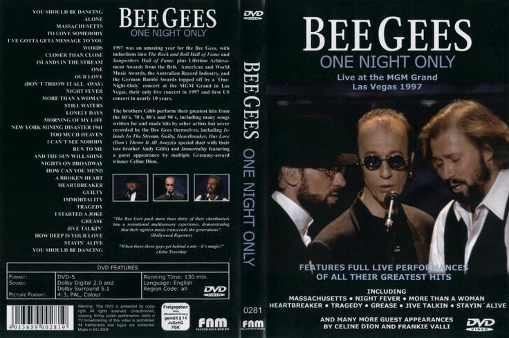 """Still LOVE this! In 1997, the Bee Gees reunited for a """"One Night Only"""" concert at the MGM Grand in Las Vegas. It was their first US concert in nearly 10 years. They sang all of their greatest hits from the '60s through the '90s, including many songs they wrote for other artists but never recorded themselves. With a guest appearance by Celine Dion. 2 ½ hrs, 1 DVD."""