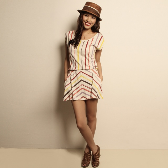 Colourful stripes dress by Etrican -  Singapore's pioneer eco fashion brand http://www.ethikl.com.au/colourful-stripes-dress.html