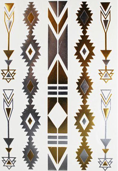 Tatouage Ephemere Motifs Navajo Dore Argente                                                                                                                                                     Plus