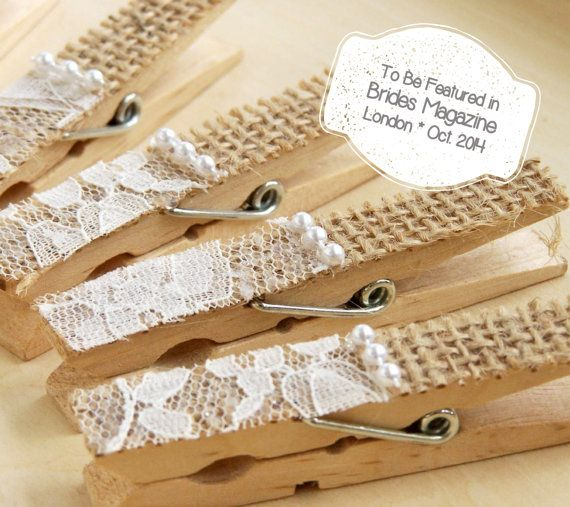 Newest Offering!    A set of 5 elegant lace adorned clothes pins (pegs) with burlap and pearl accents to add to your DIY wedding arsenal!    **TO