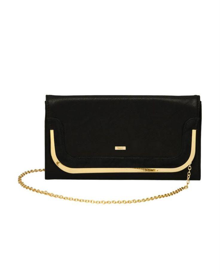 #pochette nera con inserti oro