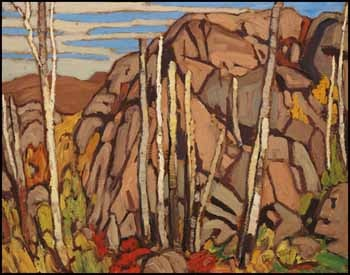 Lawren Stewart Harris  1885 - 1970 Canadian  Country North of Lake Superior, Algoma Sketches LIII  oil on panel  10 3/4 x 13 1/2 in  27.3 x 34.3 cm  Price: 117,000 CAD