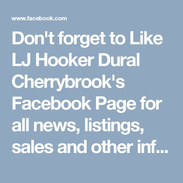 Don't forget to Like LJ Hooker Dural Cherrybrook's Facebook Page for all news, listings, sales and other information