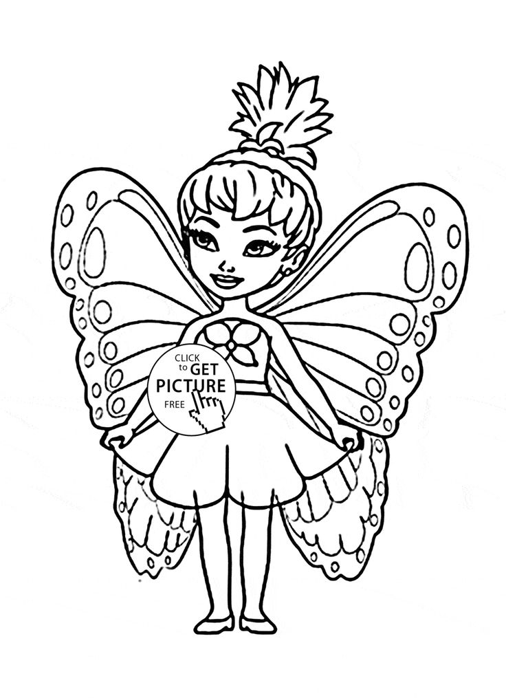 cute little fairy coloring page for kids for girls coloring pages printables free wuppsy