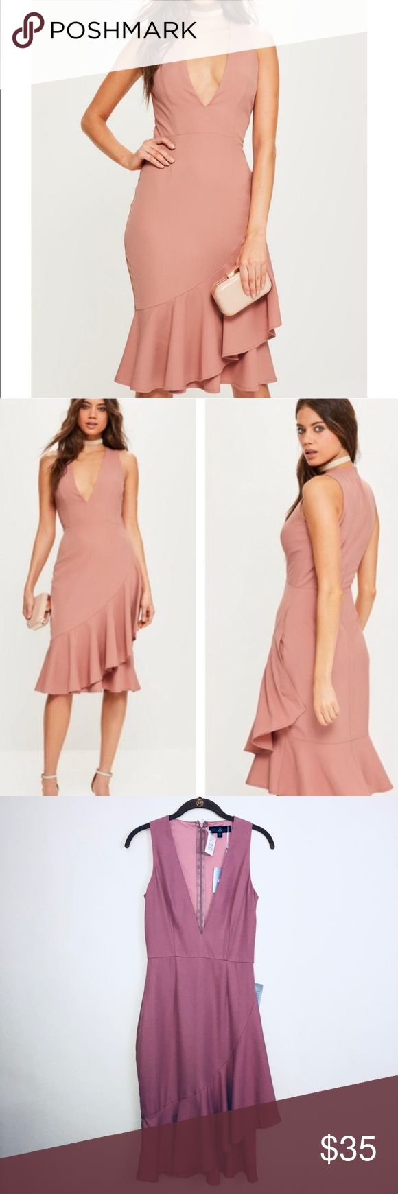 """Missguided Rose Crepe Sleeveless Ruffle Midi Dress Rose Crepe Sleeveless Ruffle Hem Midi Dress from Missguided. Size 4. New with tags. Polyester. Hand Wash Seperately. Perfect dress for a special occasion such as a wedding, bridal shower, baby shower, graduation, or homecoming.   Measurements  16"""" across chest  44"""" long from highest point Missguided Dresses Midi #graduationdresses"""