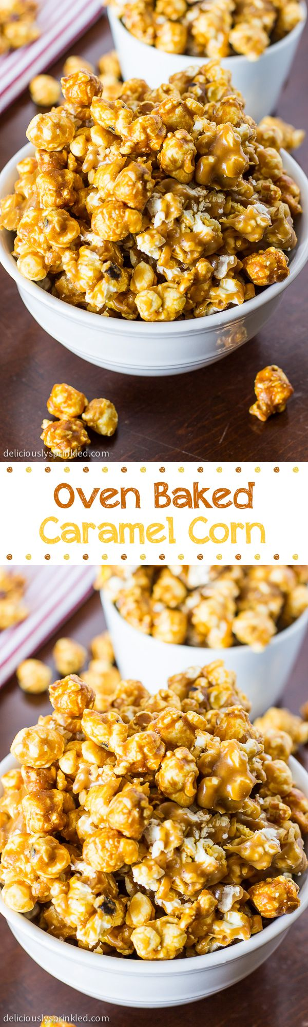 Oven Baked Caramel Corn: One of our families favorite sweet & salty snacks! Makes a perfect gift too! :)