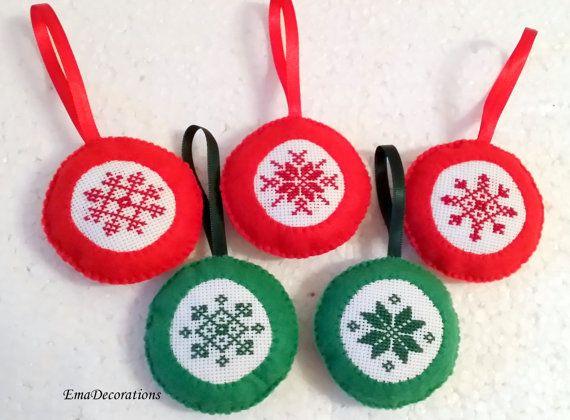 Filc ornament, muliną Decor, czerwony i zielony Christmas dekoracji, Niebieski Fioletowy Biały Snowflake Ornament