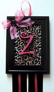 Personalized Hairbow Hair Bow Holder Cheetah Leopard Black Hot Pink Wall Decor | eBay