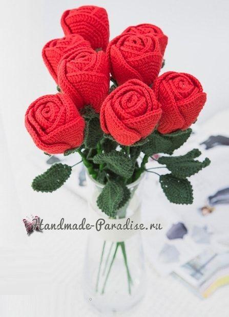 самые красивые розы крючком схемы цветы вязаные связанные