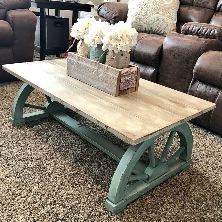 Chalk Painted Vintage Wagon Wheel Coffee Table Rustic Home Funiture