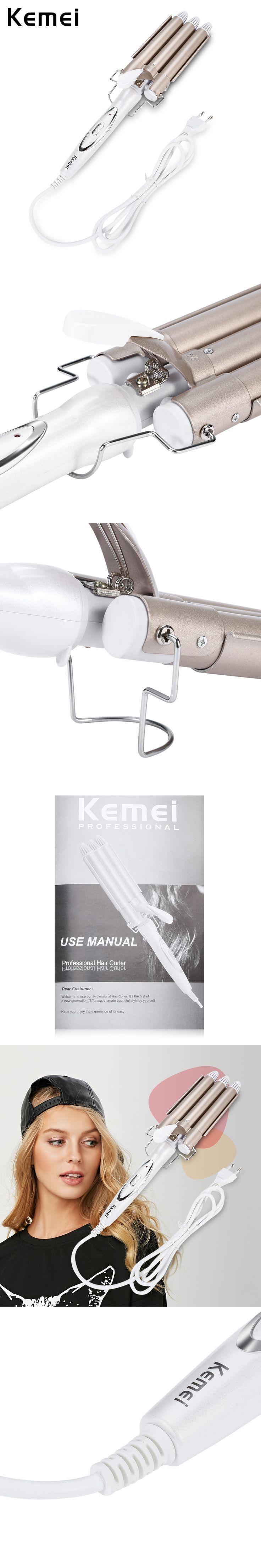 KEMEI High Quality Pro 110-220V Hair Curling Iron Ceramic Triple Barrel Hair Curler Hair Waver Styling Tools Hair Styler