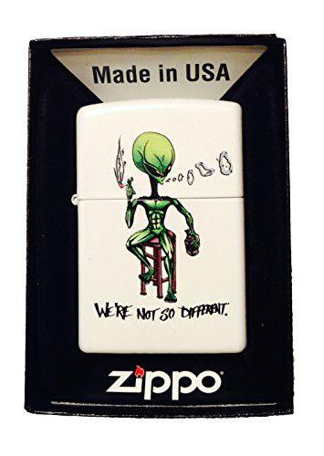 Zippo Custom Lighter - 'We're Not So Different' Alien Smoking & Drinking
