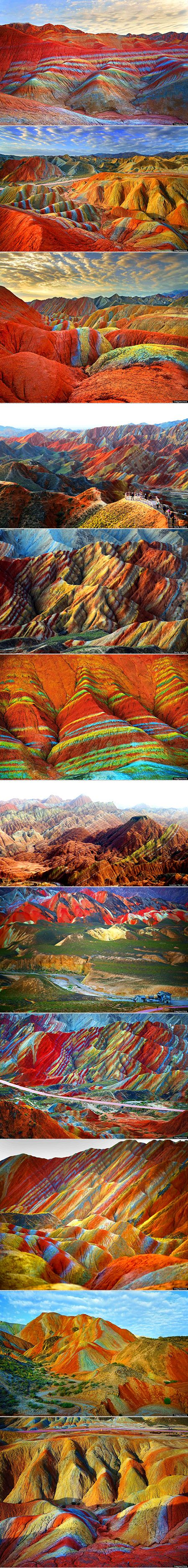In the northwestern Gansu province of China lies the Zhangye Danxia Landform Geological Park, a gorgeous expanse of land known for its rainbow-colored rock formations. Bands of fiery red, creamy orange, rich green, and bright yellow streak across the mountains, forming the most beautiful geological layer cake we have ever seen.