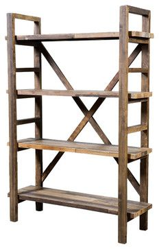 primitive rustic antique reclaimed bookcase shelves | Industriel Reclaimed Pine Shelving Unit rustic bookcases