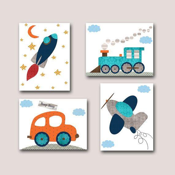 Car Nursery Rocket nursery Baby Boy Nursery decor Children Art Print Baby Nursery Print set of 4 8x10 plane nursery train nursert gray blue via Etsy