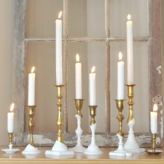 Great upcycle on thrift store brass candle holders -easy, modern and fun!