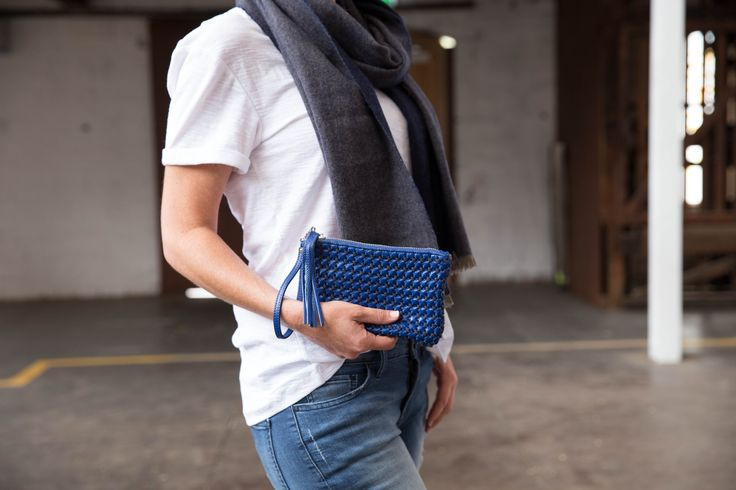 Our Slouch Clutch in blue with is beautiful textured winter finish