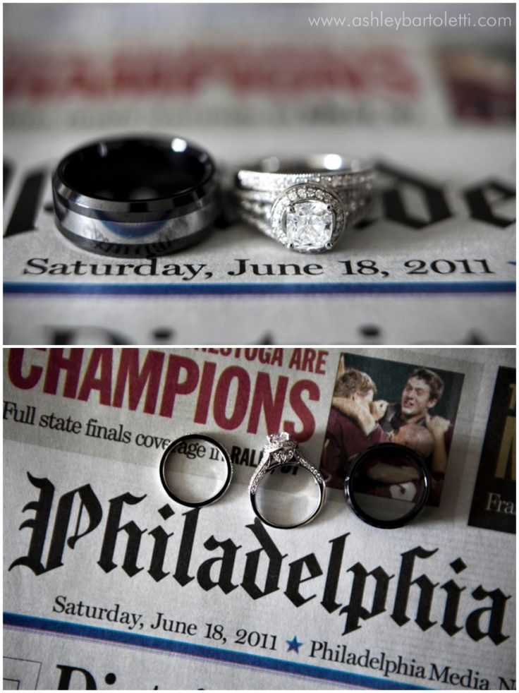 rings with newspaper day of wedding... Really want to remember this