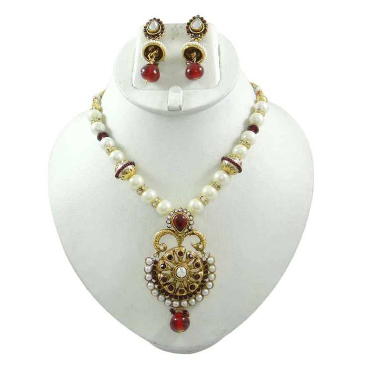 This is a beautiful 2 pcs set of traditional Indian Bollywood designer necklace jewelry set includes a necklace set with an adjustable chain and a pair of earrings.  ..this is img