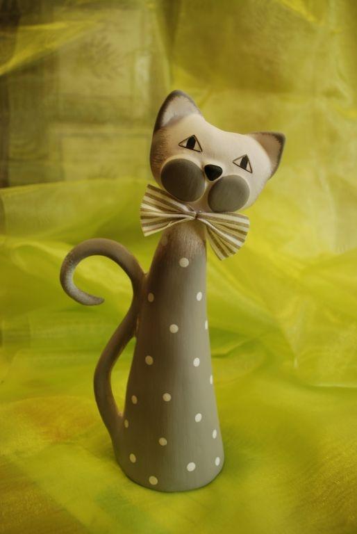 Keramika - kočička střední šedá s puntíky