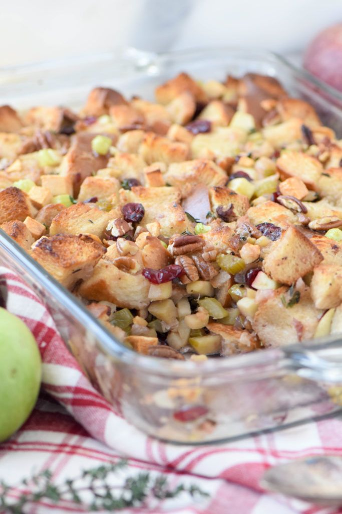 A rich, sweet stuffing made with challah, apples and a touch of honey. A new family favorite!