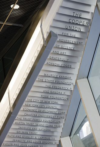 Pentagram // The Cooper Union // www.pentagram.com > environmental graphics // Signage and environmental graphics for the building that is fully integrated with the building's dynamic architecture.