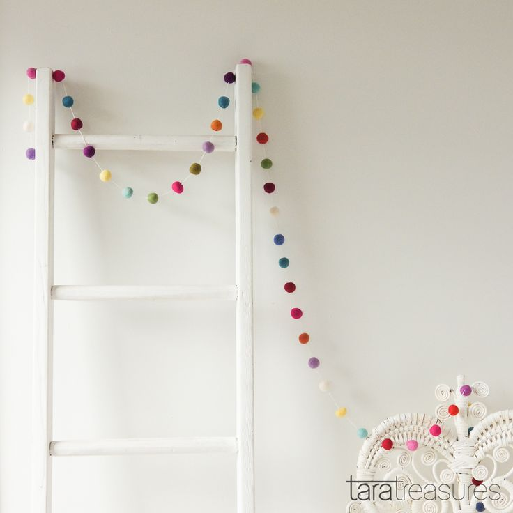 Colourful felt ball garland. Drape this felt garland around windows, mantels, tepees and even treehouses. Whimsical yet simple, a perfect gift for any age.
