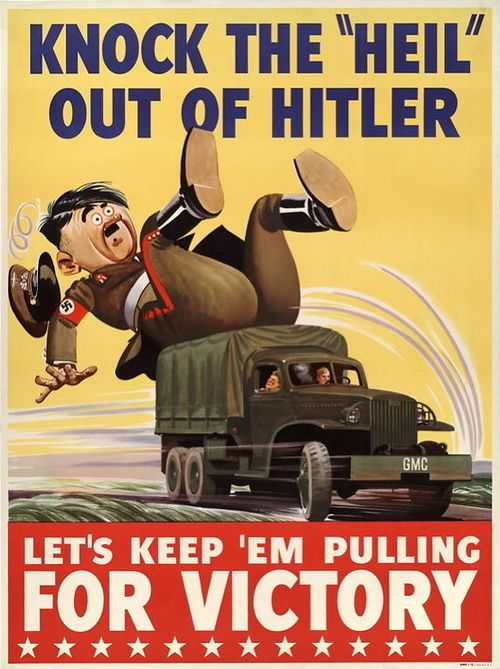 """Amusing American WWII propaganda poster depicting a caricature of Hitler being bowled over by an American truck with the phrase: """"Knock the 'Heil' out of Hitler"""""""