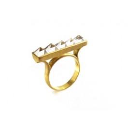 Anel Mini pirâmides - ouro 18k e cristais de rocha