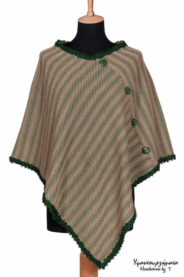 HANDWOVEN WOOL PONCHO|handmade shawl|women accessory|fall fashion|fall winter|trends|gift idea|unique design|designer fabric|fashion fabric by HandwovenByT on Etsy
