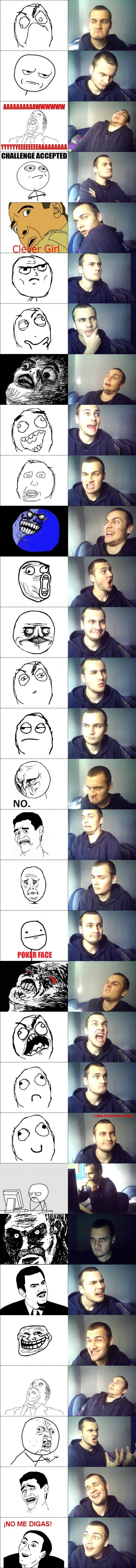 Otra recopilación de caras imitando a memes