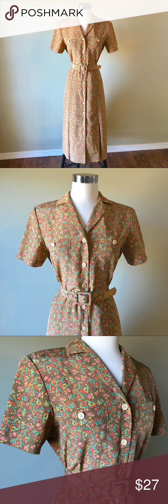 """Vintage Brown Floral Midi Secretary Day Dress Leslie Fay brown vintage midi day dress with allover floral print. Button down front and back elastic waist. Comes with matching fabric belt. Labeled as a size 8P. Measures 19"""" armpit to armpit, flat waist stretches from 14""""-16"""", 49"""" long. Best for sizes 6/8 (M). In great vintage condition.   ⭐️⭐️Bundle and Save ⭐️⭐️  Tags: Modest length, appropriate, church, work, retro, cute dress, floral dress, flowers Vintage Dresses Midi"""