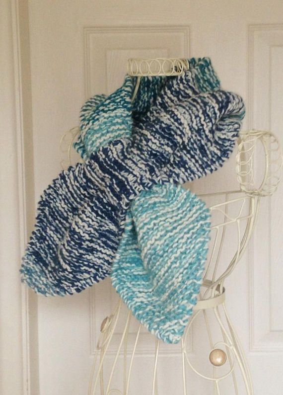 Ascot Scarf Keyhole Scarf Chunky Knit Scarf Hand Knitted