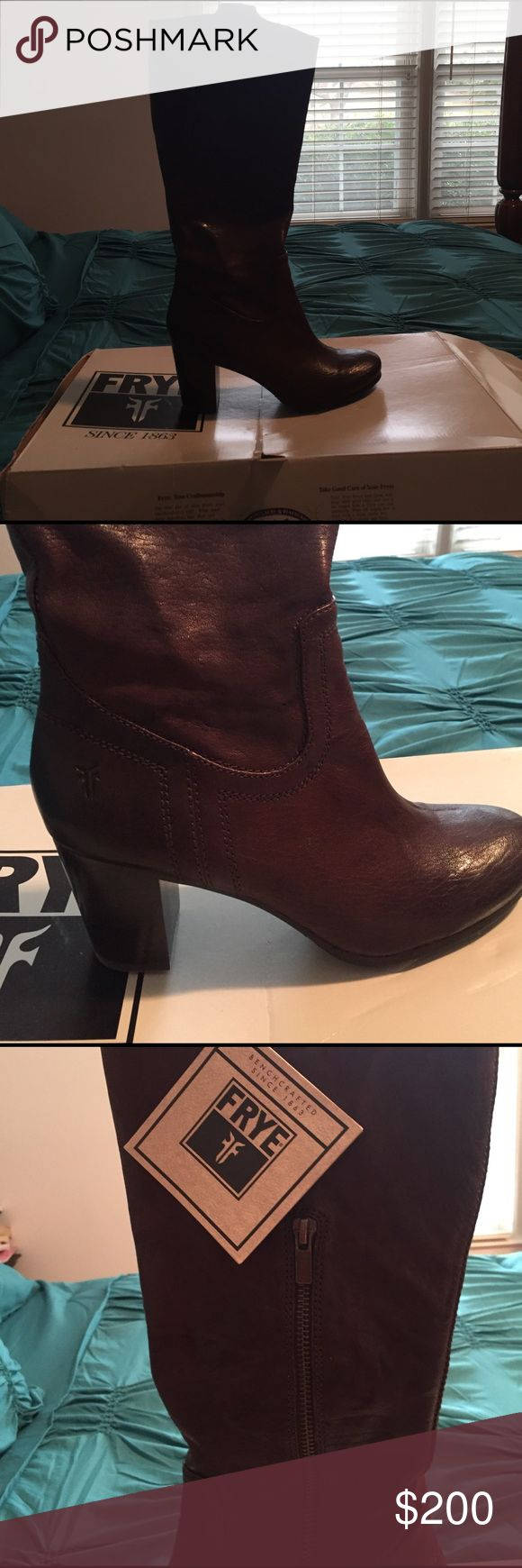 Boots Dark Brown leather Frye Boots brand new never worn.  Size 8 Frye Shoes Heeled Boots