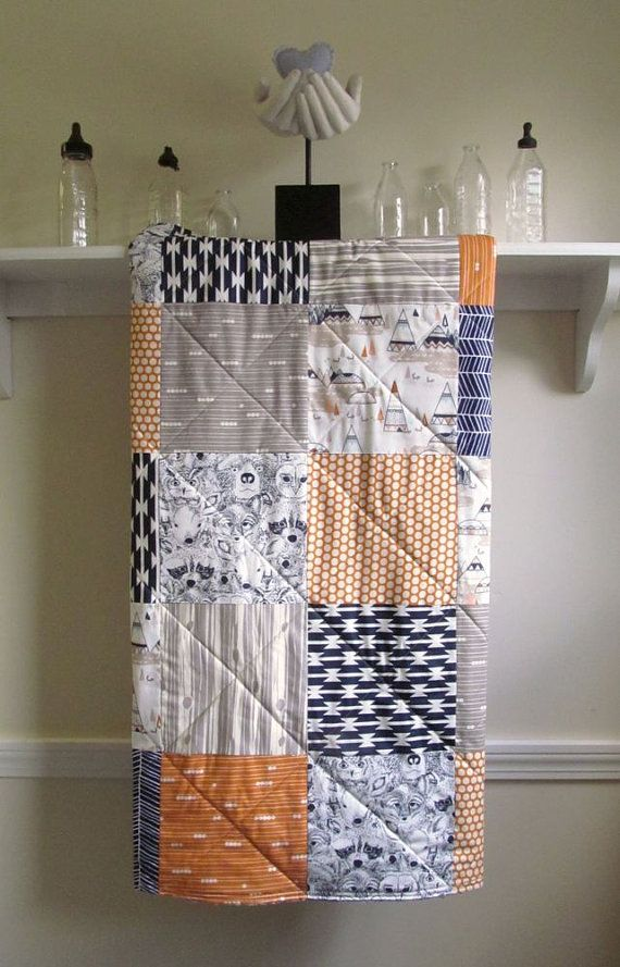 Baby Boy Quilt Modern Rustic Woodland Gray Orange Navy Minky Back Crib Bedding Nursery