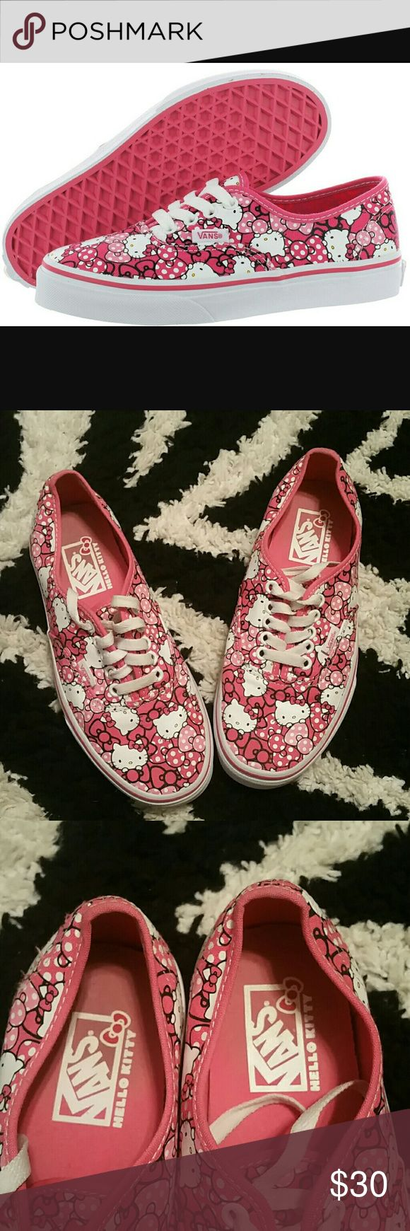 EUC! Vans Hello Kitty Pink/White Sneakers Sz. 8 EUC! Vans Hello Kitty Pink/White Sneakers Sz. 8  HELLO KITTY VANS SNEAKERS  Condition:  Very good pre-owned condition.  Good sole treads; very nice overall shape.  Needs a gentle cleaning.  No torn or repaired parts.  No odors, no holes.    Size:  Women's 8/ Men's 6.5  Color:  Pink & White Vans Shoes Athletic Shoes