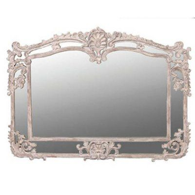 Antique ornate rectangular mirror cream finish