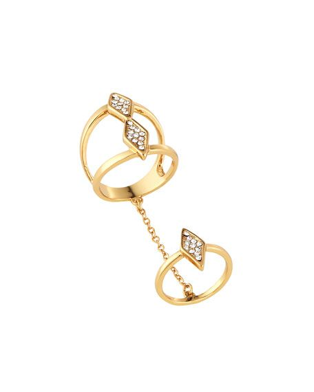 Two-Part Ring by Rebecca Minkoff 12k Gold-Plated, diamond shape accents with Pavé crystals Sits at base of finger & knuckle