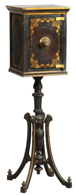 March 30th Auction. From the Guy Zani Jr. Safe Collection: Marvin Victorian Boudoir/Brothel Safe. Circa 1870. Marvin Safe Company. Interior has three shelves and two drawers lined with blue velvet with secret money compartment. Weighs approximately 275 pounds. #BuodoirSafe #BrothelSafe #GuyZani #MorphyAuctions