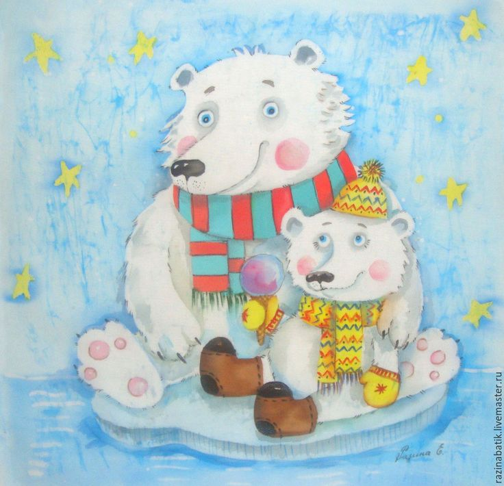 Купить Белые мишки (батик панно) - белый, мишка, медведь, семья, Север, белый мишка