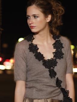 CHAMPAGNE Wrap cardigan with crochet motifs by Marie Wallin