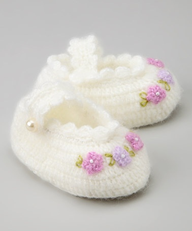 Take a look at this White Sweet As Flower Crochet Mary Jane by Best of Chums on #zulily today!