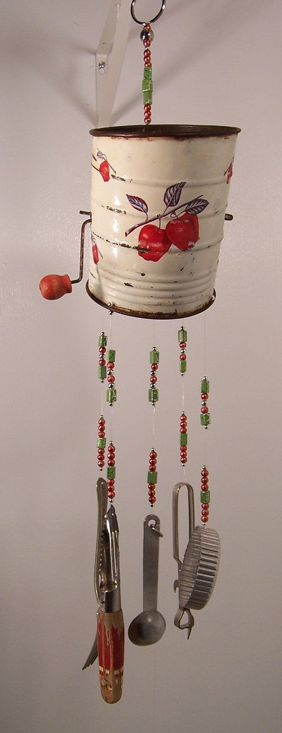 Wind Chime-Repurposed Sifter Kitchen Wind Chime-In the Orchard-Handmade One of a Kind Wind Chimes by passingtimeandchimes On Etsy