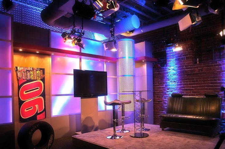 Complete Corner Set - Tv Set Design - Great website for info - like the corner desk designs - the wood with the white lit plexi
