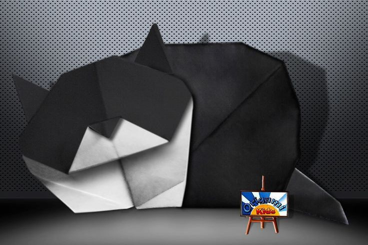 Origami Sleeping Cat.  Photographer & Folder: OrigamiKids Complexity Intermediate. Time to fold 30 min. 34 steps. Paper: Single Uncut square origami black and white paper, about 22 cm x 22 cm.  Folding Instruction: http://origami-blog.origami-kids.com/eng/sleeping-cat.htm