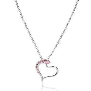 Perfect Gift - High Quality Heart Shape Pendant with Light Pink Swarovski Crystals and Necklace (1729) for Valentine day Gift Free Standard Shipment Clearance