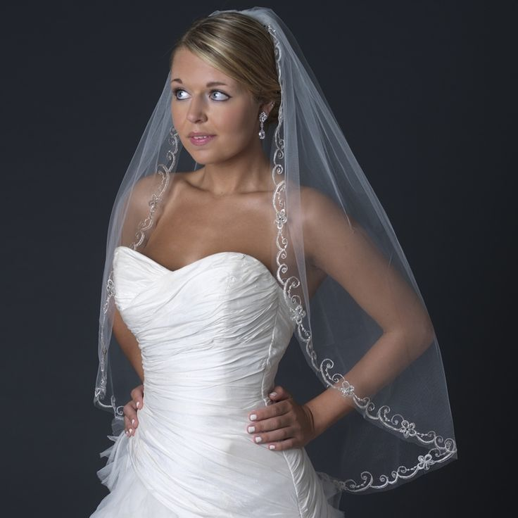 Single Layer Embroidered Veil In Ivory Attached With A Comb 36 Long X Wide